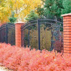 Custom Brick And Wrought Iron Fence Built For A High End College School Surrounding The Entire Campus By Delco Fencing