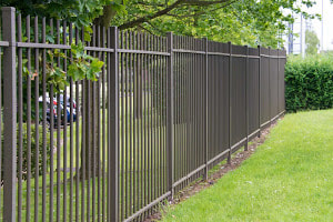 A Picture of A Wrought Iron Fence After Being Installed By Delco Fencing With Nice Fluffy Green Grass